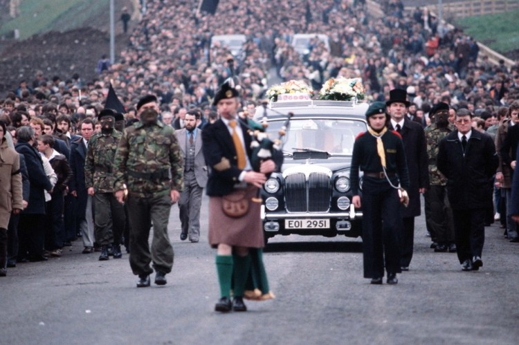 Over 100,000 people attended the funeral of IRA Volunteer Bobby Sands MP.