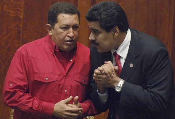Hugo Chavez and Nicolas Maduro