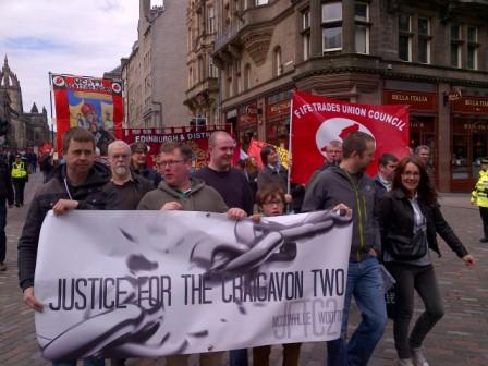 Members of the James Connolly Society Scotland supporting the Justice For The Craigavon Two campaign.