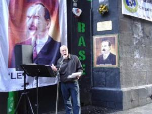 Allan Armstrong speaking at JCS event at James Connolly's birthplace, 107 Cowgate, Edinburgh.