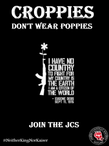 Poster for JCS 2014 Croppies Don't Wear Poppies campaign.