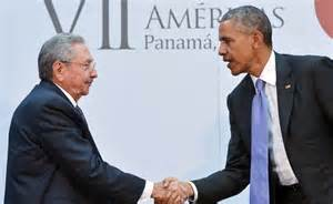 President of Cuba Raul Castro meeting US President Barack Obama at the Summit of the Americas.