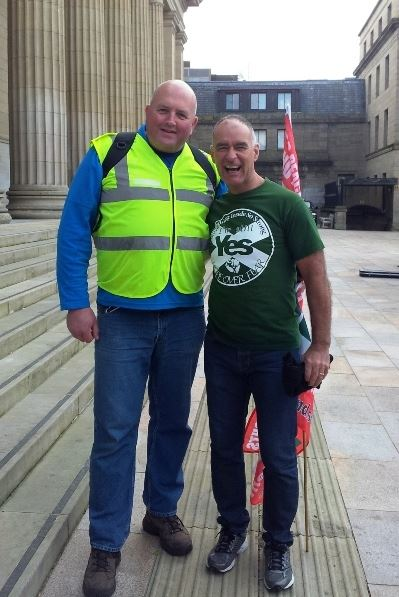 Tommy Sheridan with Solidarity candidate Gareth Norman, former NF & BNP organiser and ex Grand Wizard of the KKK.
