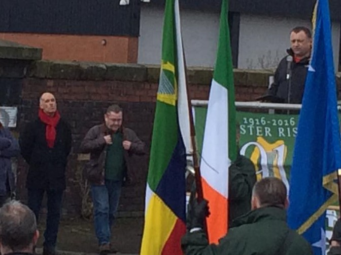 Speakers at recent West of Scotland Bands Alliance parade.